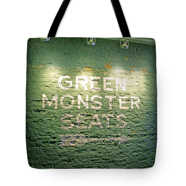 To The Green Monster Seats Tote Bag by Barbara McDevitt