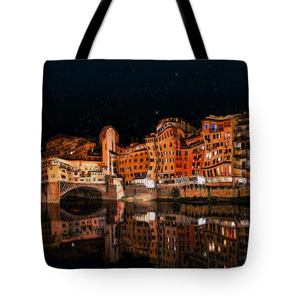 To The Right Of Ponte Vecchio #3 Tote Bag by Aleksander Rotner