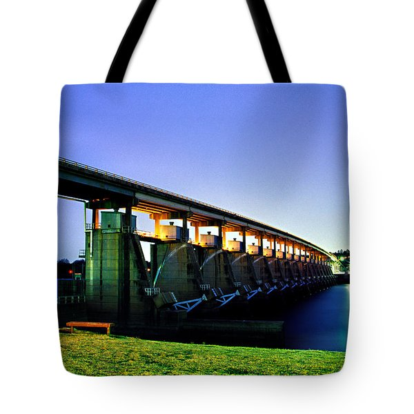 Toad Suck Dam At Night Tote Bag by Jason Politte