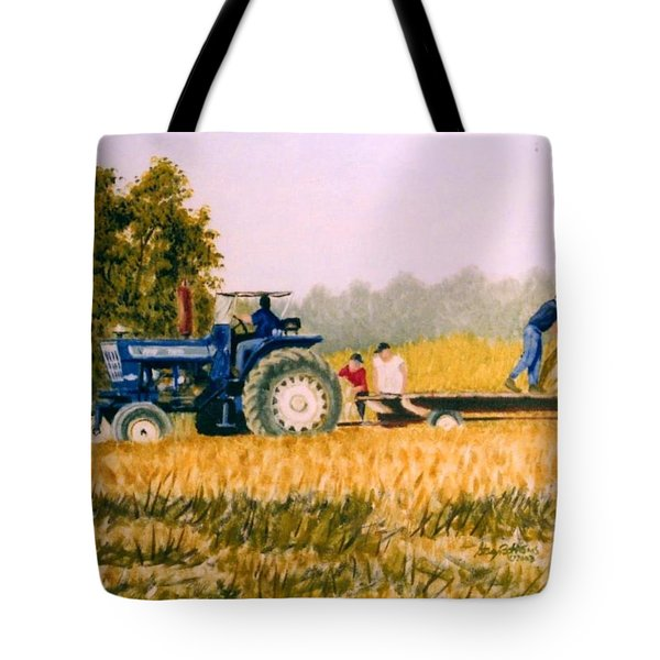 Tote Bag featuring the painting Tobacco Farmers by Stacy C Bottoms
