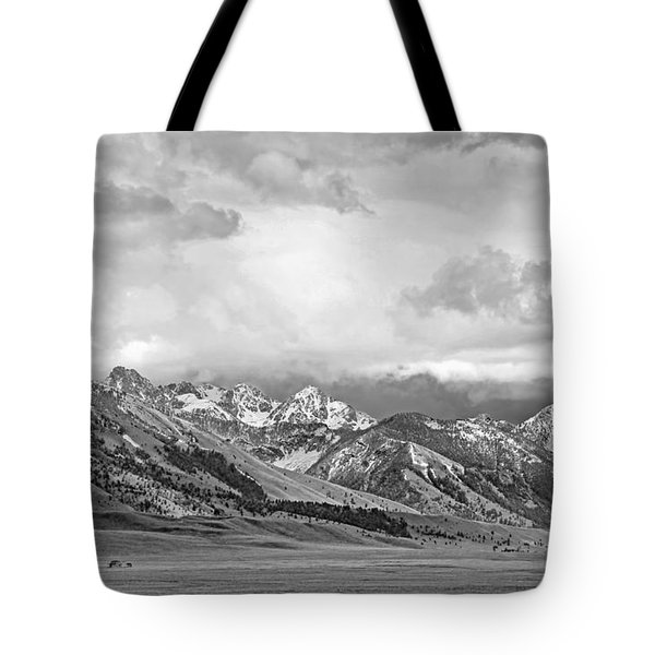 Tobacco Root Mountains Montana Black And White Tote Bag by Jennie Marie Schell