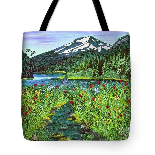 Todd Lake Mt. Bachelor Tote Bag by Jennifer Lake