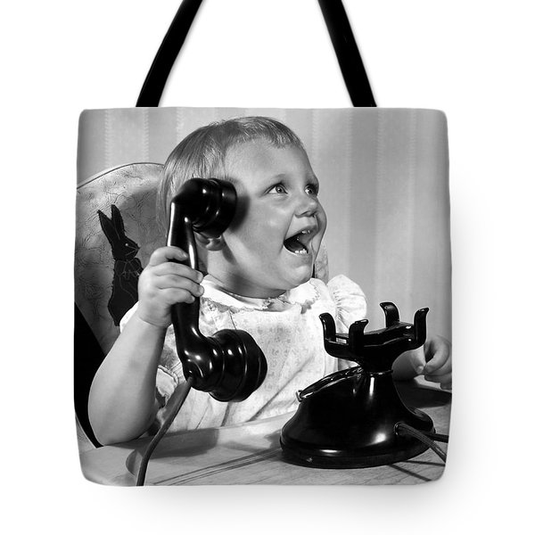 Toddler With Telephone Tote Bag by Underwood Archives