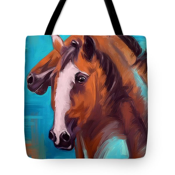 Tote Bag featuring the painting Together 1 by Go Van Kampen
