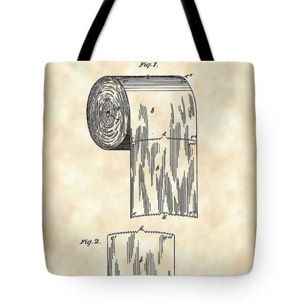 Toilet Paper Roll Patent 1891 - Vintage Tote Bag