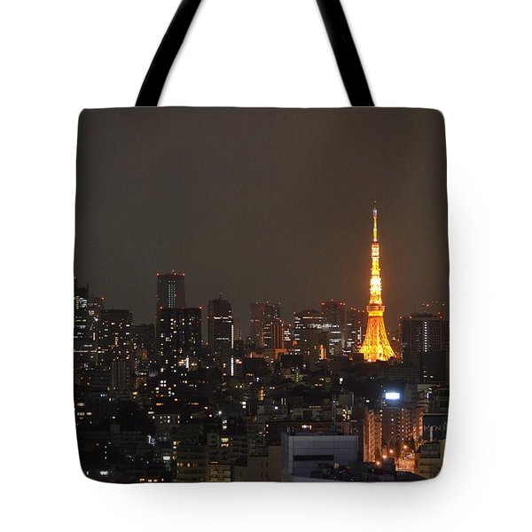Tokyo Skyline At Night With Tokyo Tower Tote Bag by Jeff at JSJ Photography