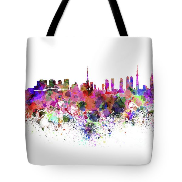 Tokyo Skyline In Watercolor On White Background Tote Bag by Pablo Romero