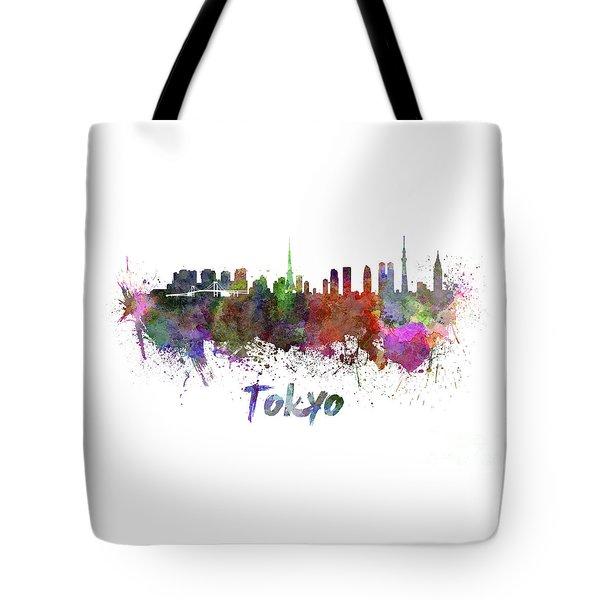 Tokyo Skyline In Watercolor Tote Bag by Pablo Romero