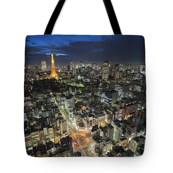 Tote Bag featuring the photograph Tokyo Tower At Night by Bryan Mullennix