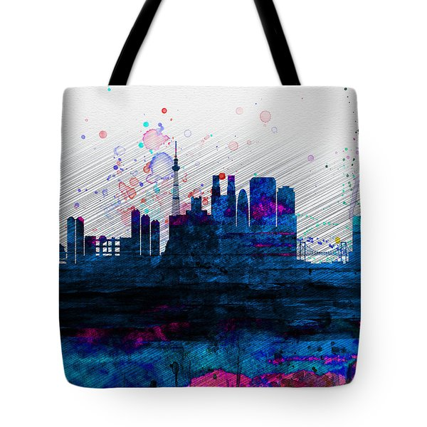 Tokyo Watercolor Skyline 2 Tote Bag by Naxart Studio