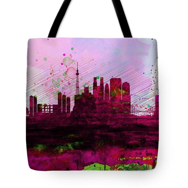 Tokyo Watercolor Skyline Tote Bag