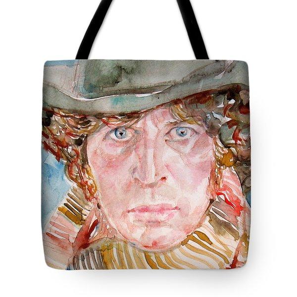 Tom Baker Doctor Who Watercolor Portrait Tote Bag by Fabrizio Cassetta