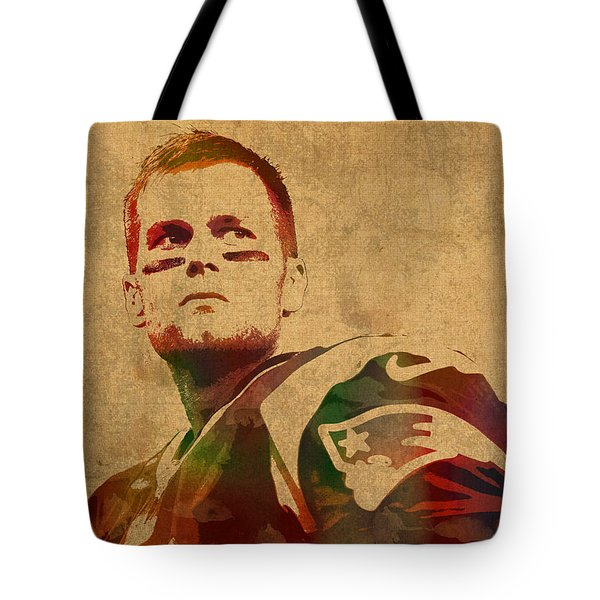 Tom Brady New England Patriots Quarterback Watercolor Portrait On Distressed Worn Canvas Tote Bag