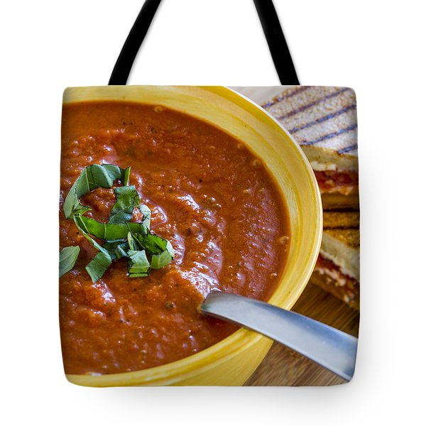 Tomato And Basil Soup With Grilled Cheese Panini Tote Bag