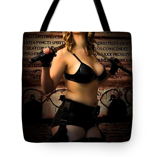 Tomb Raider At The Temple Of Death Tote Bag