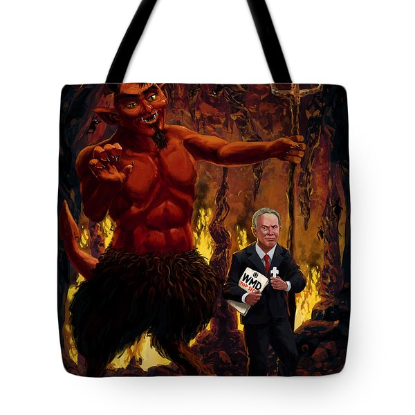 Tony Blair In Hell With Devil And Holding Weapons Of Mass Destruction Document Tote Bag