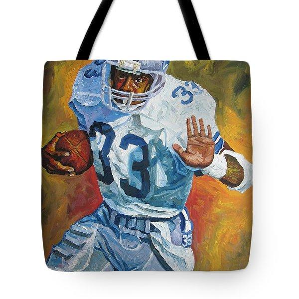 Tony Dorsett - Dallas Cowboys  Tote Bag by Mike Rabe