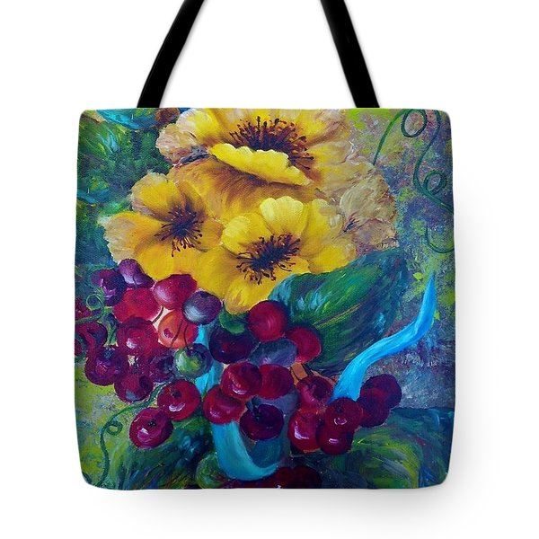 Too Delicate For Words - Yellow Flowers And Red Grapes Tote Bag by Eloise Schneider