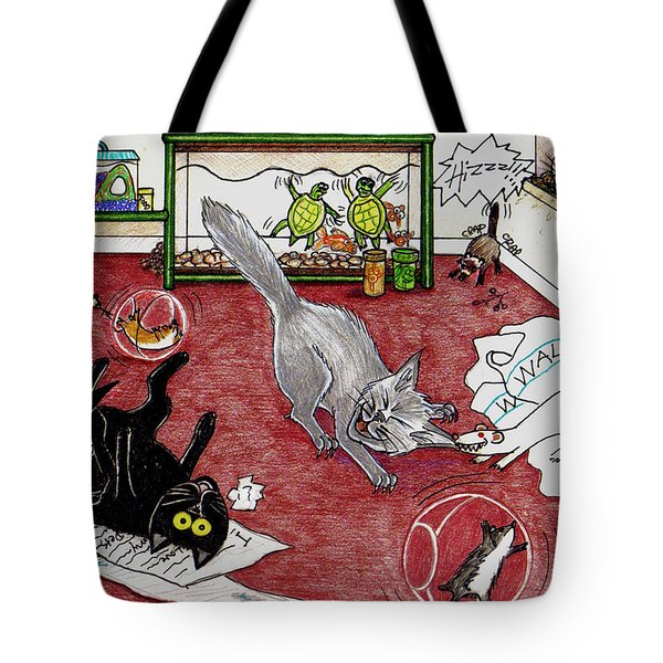 Tote Bag featuring the drawing Too Many Pets by Shawna Rowe