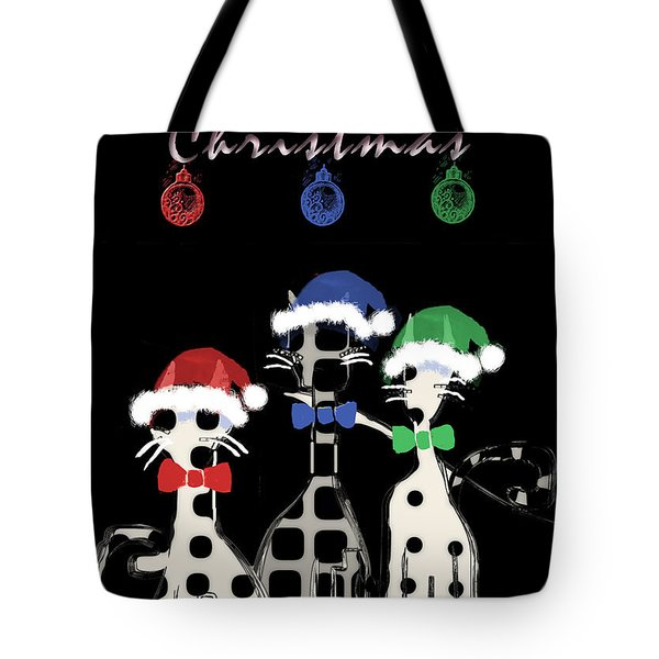 Tote Bag featuring the digital art Toon Cats Christmas by Arline Wagner