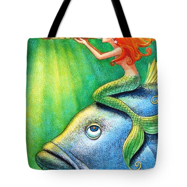 Tote Bag featuring the painting Toot Your Own Seashell Mermaid by Sue Halstenberg