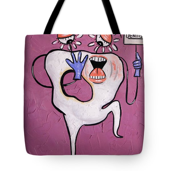 Tote Bag featuring the painting Tooth With A Cavity Dental Art By Anthony Falbo by Anthony Falbo