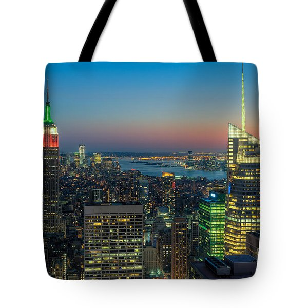 Top Of The Rock Twilight I Tote Bag