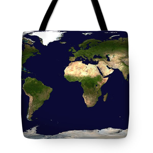 Topo Map Of The World Tote Bag by Sebastian Musial