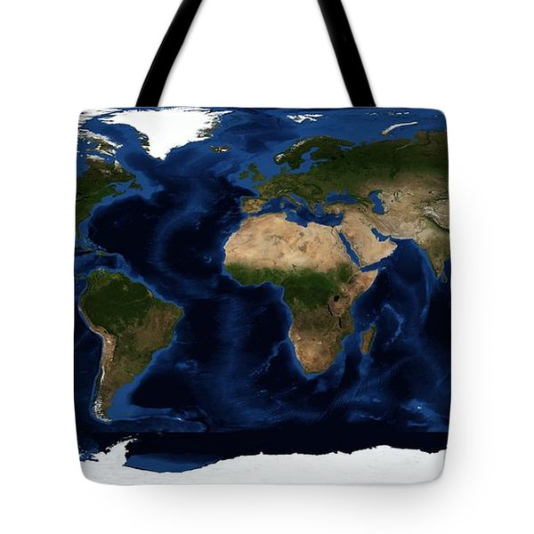 Topography Map Of The World Tote Bag by Sebastian Musial