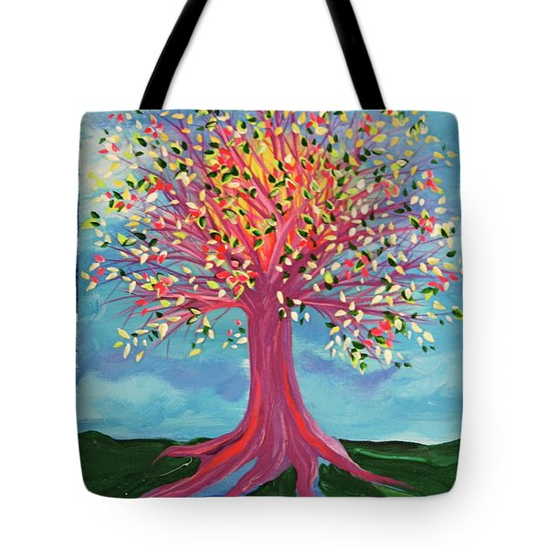 Tote Bag featuring the painting Tori's Tree By Jrr by First Star Art