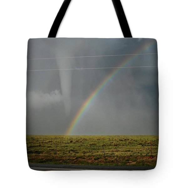 Tornado And The Rainbow Tote Bag by Ed Sweeney