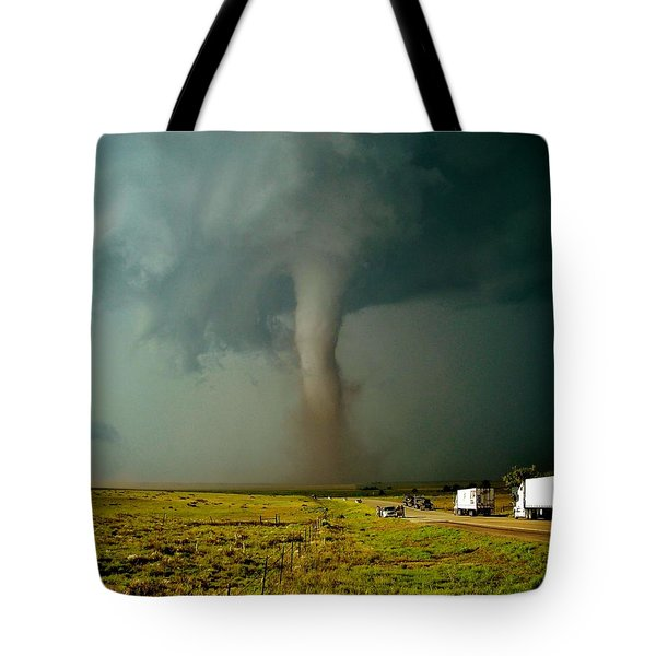 Tote Bag featuring the photograph Tornado Truck Stop II by Ed Sweeney