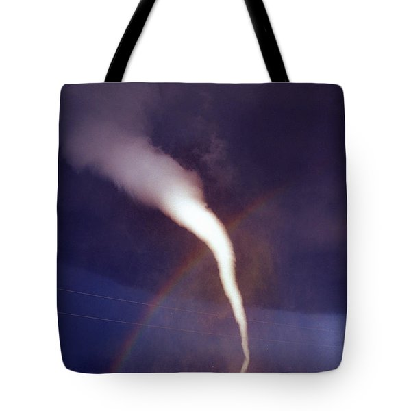 Tornado With Rainbow In Mulvane Kansas Tote Bag by Jason Politte