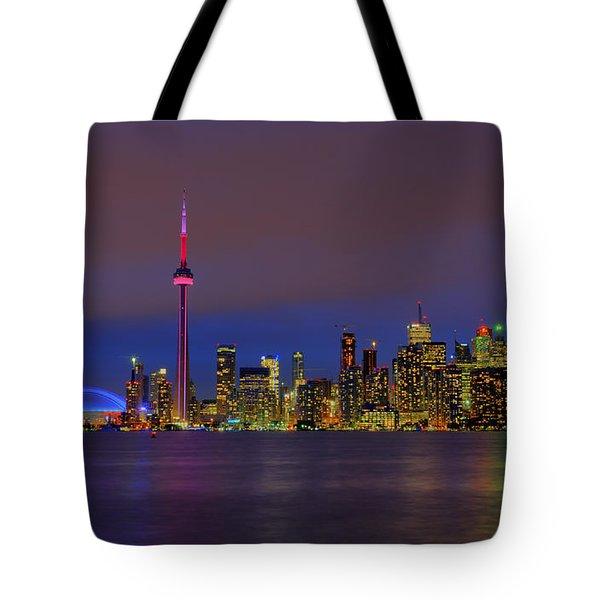 Toronto By Night... Tote Bag by Nina Stavlund
