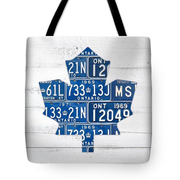 Toronto Maple Leafs Hockey Team Retro Logo Vintage Recycled Ontario Canada License Plate Art Tote Bag