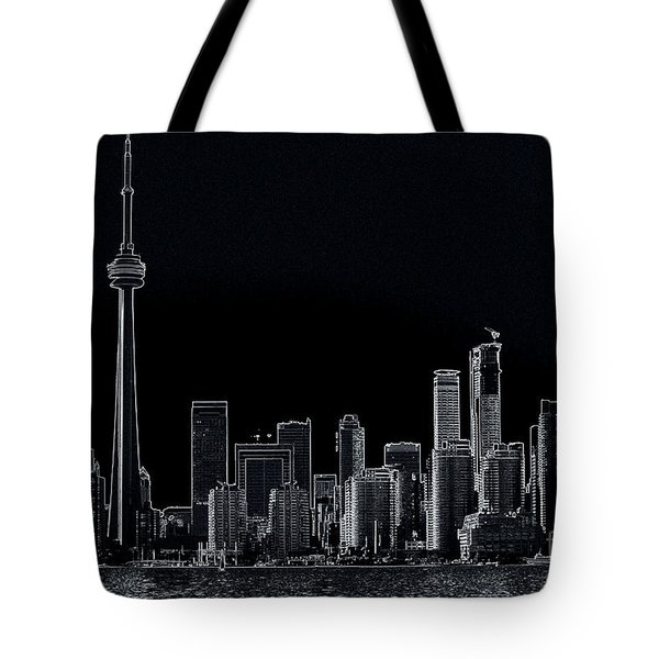 Toronto Skyline Black And White Abstract Tote Bag
