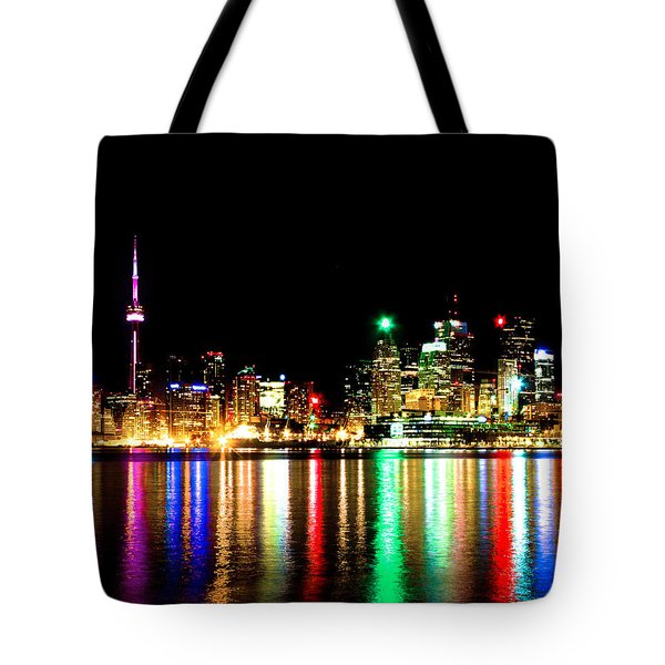Toronto Skyline Night Tote Bag