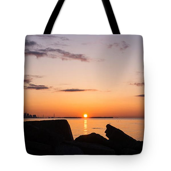Toronto Skyline Panorama At Sunrise Tote Bag by Georgia Mizuleva