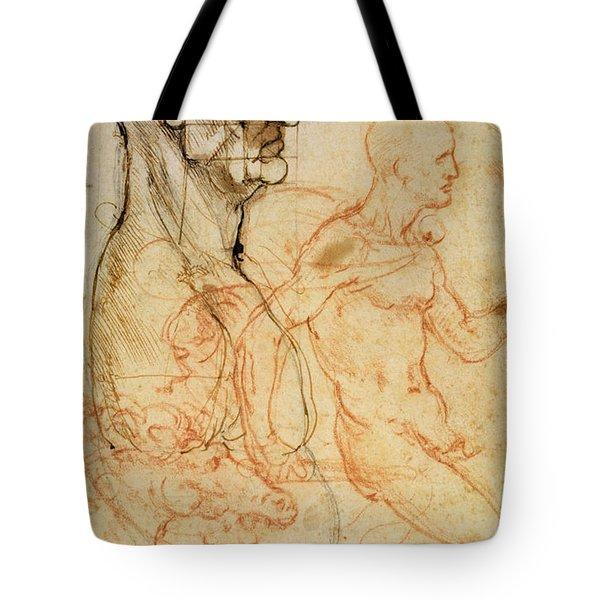 Torso Of A Man In Profile Tote Bag by Leonardo da Vinci