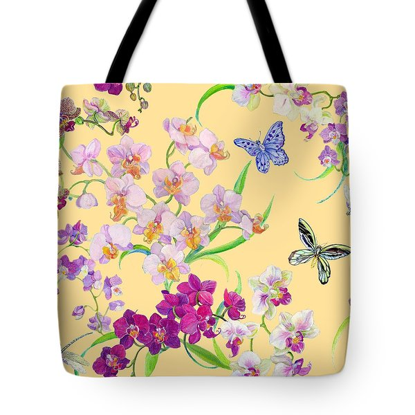Tossed Orchids Tote Bag by Kimberly McSparran