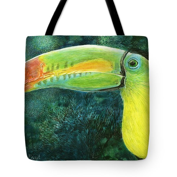 Tote Bag featuring the drawing Toucan by Sandra LaFaut