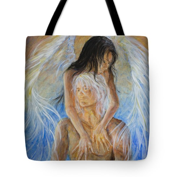 Touch Of An Angel Tote Bag by Nik Helbig