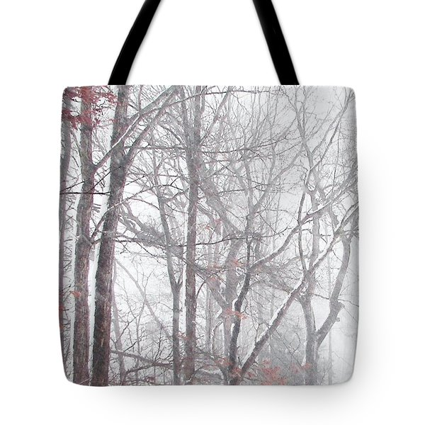 Touch Of Fall In Winter Fog Tote Bag