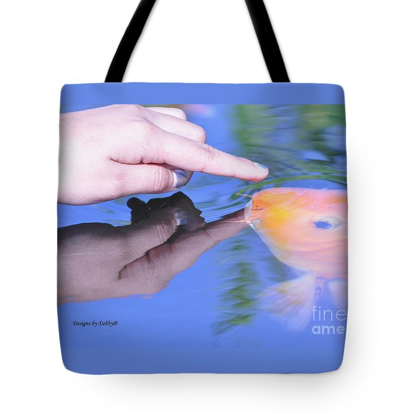 Touching The Koi.  Tote Bag by Debby Pueschel