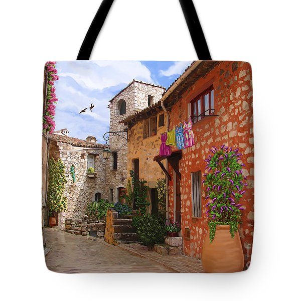 Tote Bag featuring the painting Tourettes Sur Loup France by Tim Gilliland