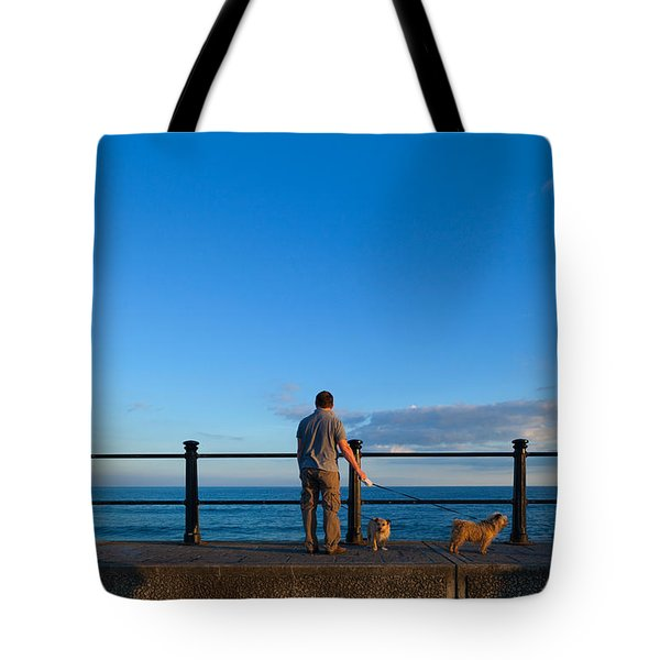 Tourist On The Promanade, Tramore Tote Bag