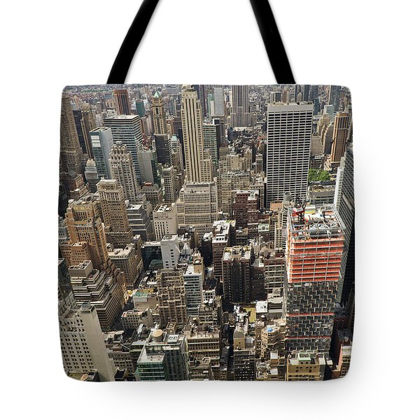 Tourists Viewing Downtown Manhattan Tote Bag