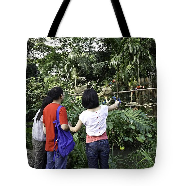 Tourists Viewing The Colorful Birds Tote Bag by Ashish Agarwal