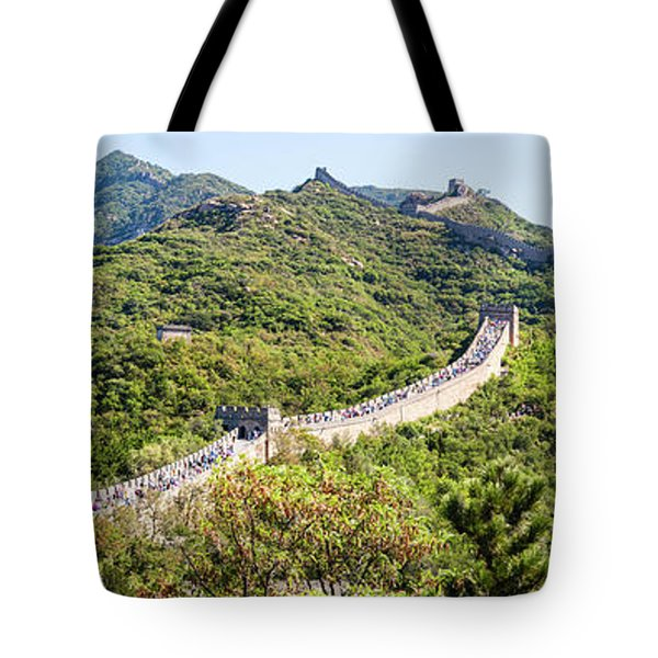 Tourists Walking On A Wall, Great Wall Tote Bag