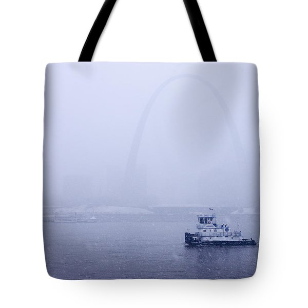 Towboat Working In The Snow St Louis Tote Bag